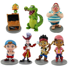 New 7pcs/set Anime Cartoon Jake and The Neverland Pirates PVC Action Figure Toys Desktop Decoration Gift For Friends And Kids