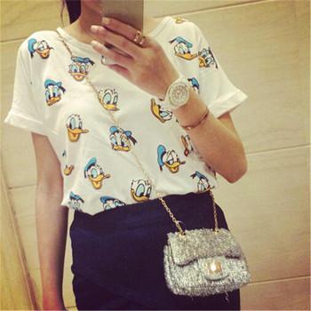 2016 Hot Sale T shirt Cartoon Duck Print Casual Women T-shirt Short Sleeve White T-shirts Ladies Harajuku Tops 8801
