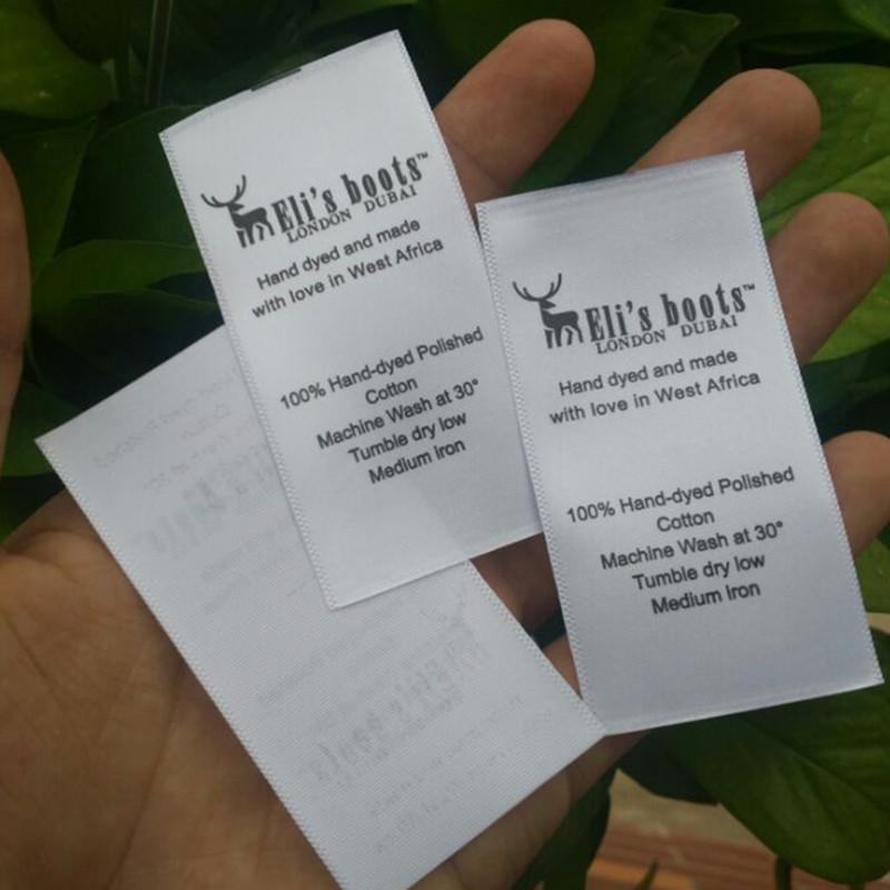 Custom White soft satin ribbon washing labels print care label garment instructions 4 cm* 8 cm(China (Mainland))