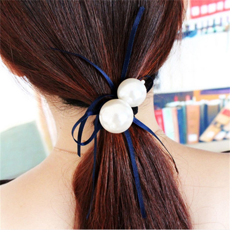 5 colours pearl butter silk ribbon hairpin Hairclips Headwear for women girl gift(China (Mainland))