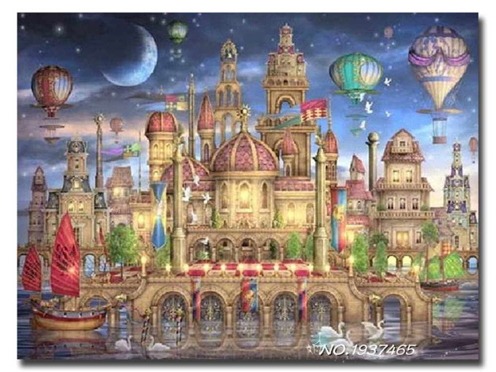Cross Stitch Wall Mural Of Diy Diamond Painting Fairy Tale Castle Cross Stitch Wall