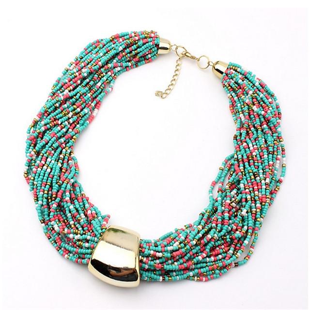 6 цветов Lastest мода чешские многослойные ожерелье из бисера для женщин европейских ...