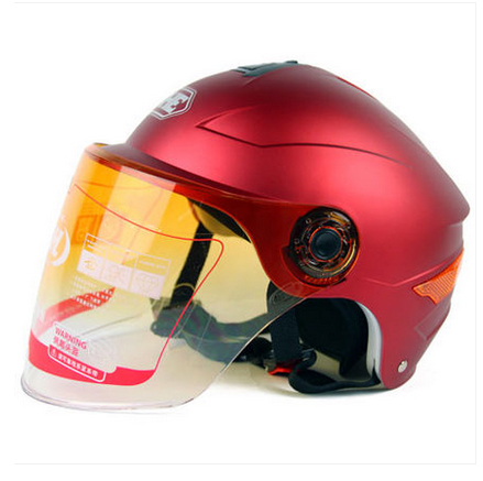 CC#04 Free Shipping YH-357-D Vintage ABS Bike Open Face Scooter Safety Motorcycle Matt Red Helmet & UV Lens Adult For Summer(China (Mainland))