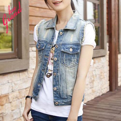 Colete Feminino 2015 New Women Solid Color Summer Chalecos Mujer Sexy Sleeveless Plus Size Denim Vest Jeans Jacket WWV154(China (Mainland))