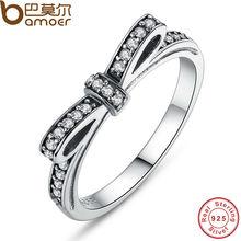 Bamoer аутентичные 100% стерлингового серебра 925 игристые бант стекируемые кольцо микро-проложить CZ ювелирные изделия PA7104(China (Mainland))