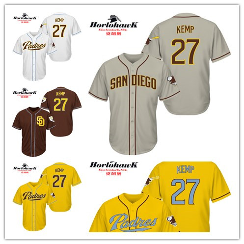 27 Matt Kemp Embroidery jerseys whith yellow white gray brown, Can be customized any name and number jerseys(China (Mainland))