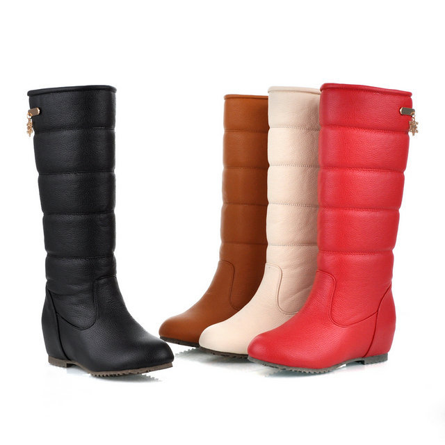 Winter Plush Knee boots women Fashion Wedge heel Snow boots fashion Fur boots Female(China (Mainland))