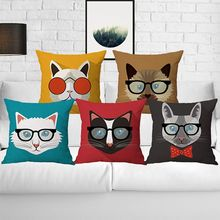 Buy Cute Animal Glasses Decorative Cushion Covers Cute Throw Pillow Covers Colorful Pillow Case Cats 45*45 Capa De Almofada for $3.09 in AliExpress store