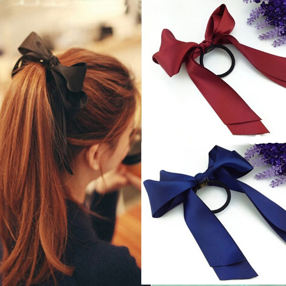 Preferential Hair Band Scrunchie Ponytail Holder Multi Color Hair Tie Rope Fashion Hair Accessories Women Ribbon Bow 1pcs/lot(China (Mainland))
