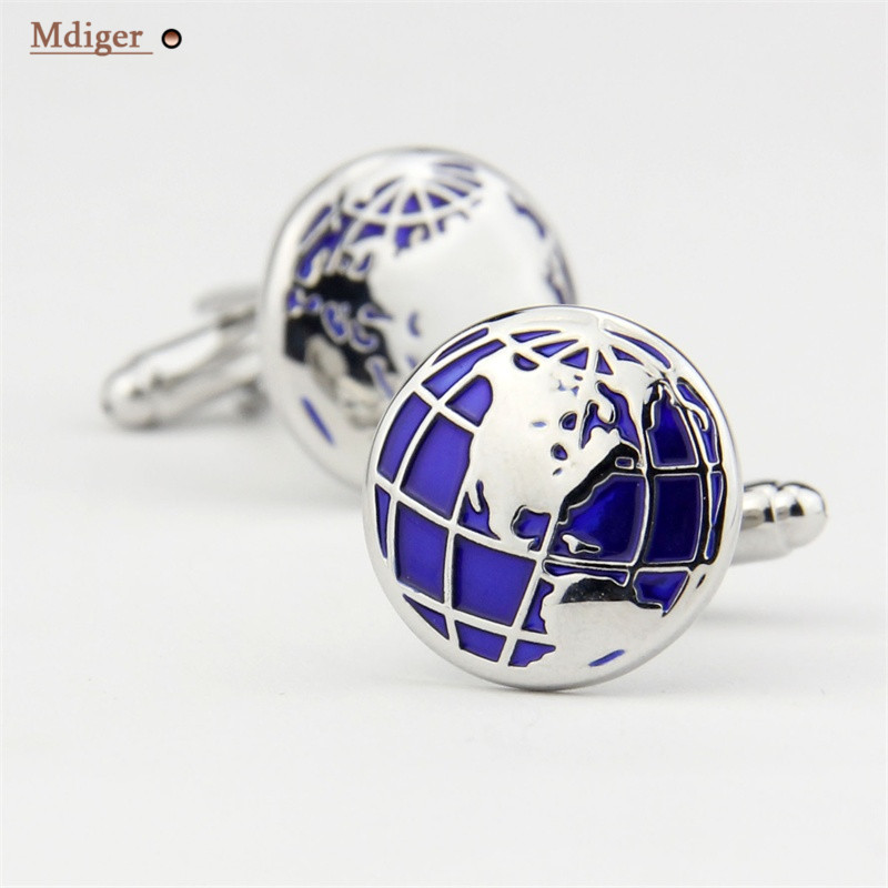 Mdiger Personalized Global Map Shape Shirt Cufflinks for Men French Copper Cuff Nail Business For Mens Suits Accessories Gemelos(China (Mainland))