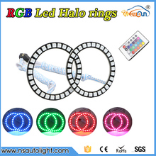 2 pieces 5050 smd LED RGB Halo remote Control Angel Eyes Ring kit 2x 40/50/60/66/72/75/80/90mm Led Halo Rings Full Circle