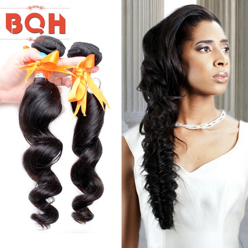 6A Virgin Peruvian Loose Wave 3pcs Natural Human Hair 1b Peruvian Loose Wave Remy Weaving Hair Extension Unprocessed Hair Weft(China (Mainland))