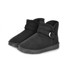 Fashion Women Winter Black Brown Coffee Take Metal Buckle Casual Warm Snow Boots Short Ankle Shoes #77625(China (Mainland))