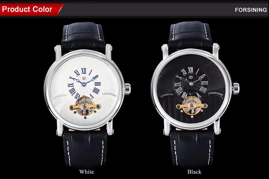 FORSINING марка мужчины роскошные механические часы кожаный ремешок мужская автоматическая турбийон часы мужчины серебряные часы relogio
