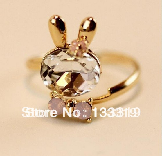 Korean super cute adorable ring ring color crystal Bunny bow open! 2015 HOT free shipping(China (Mainland))