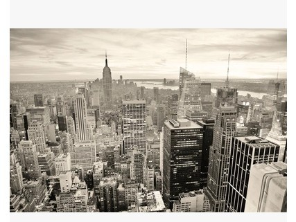 Buy new york black and white city night for Black and white new york mural wallpaper