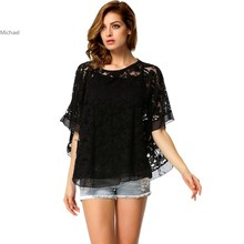 New Arrival Korean Style Two Piece Off Shoulder Women's Batwing White Lace Blouse Cute Shirt For Ladies Tops M/L/XL 35