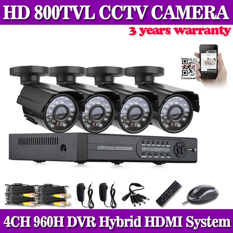 4channel cctv DVR 1080p 4ch 960H recording dvr 4pcs IR 800tvl outdoor security camera system cctv dvr kit HDMI<br><br>Aliexpress