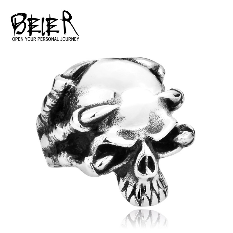 Drop Ship Wholesale 316L Stainless Steel Jewelry Men s Gothic Punk Claw Thingking Skull Skeleton Rings