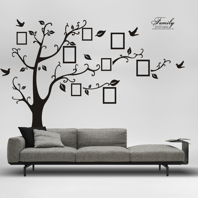 1pc Warm Removable Memory Love Home Family Tree Photo DIY Wall Stickers Art  Decors Black 99 X 70 Inch