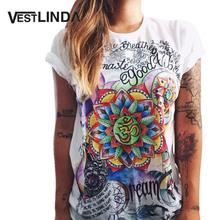 VESTLINDA Women T-Shirt Short Sleeve Fashion Graffiti Flower Print Cool T Shirts Tops 2017 Summer Casual Tee Shirt Ladies Tshirt(China (Mainland))