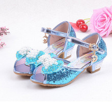 Sequin Glitter Children Elsa Shoes Girls High Heels Pumps Kids Snow Queen Party Beading Dance Shoes For Girls Sandals With Bow(China (Mainland))