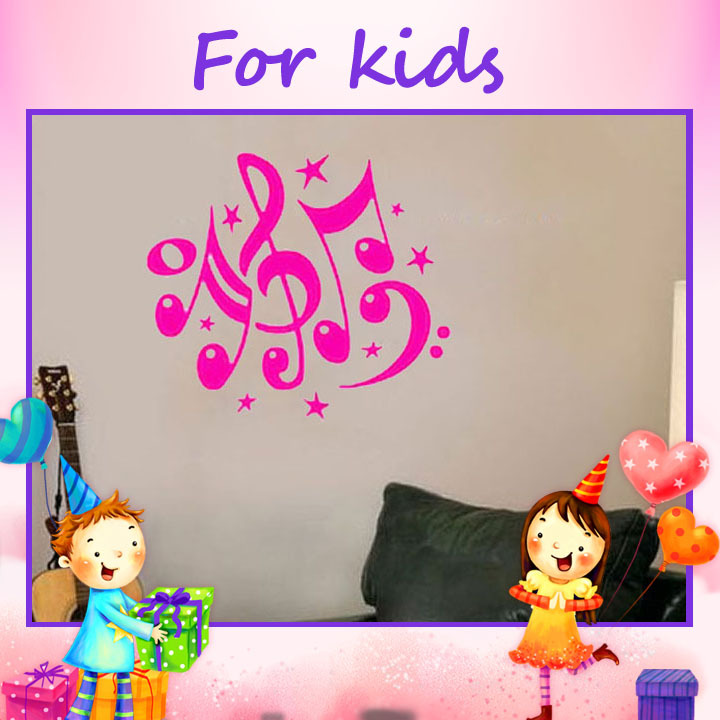 Creative Products Decorative Stickers Music Note Stars DIY Middle Wall Decals Decoration For Bedroom(China (Mainland))