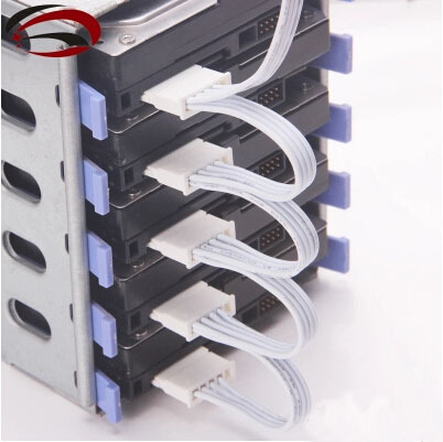 Hard Drive SATA Power Supply Cable 4Pin IDE Molex to 5 SATA Connector Lead 18AWG Wire White For HDD SSD Cage PC Server DIY(China (Mainland))