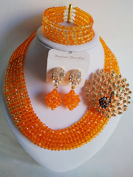 Trendy nigerian wedding african beads jewelry set Light Orange crystal beads bride jewelry set GG-609<br><br>Aliexpress
