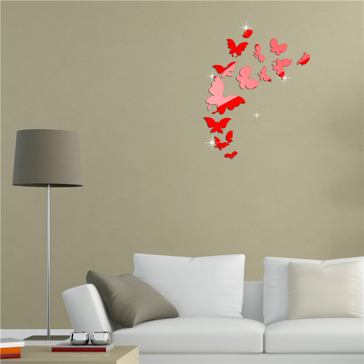 Butterfly Mirror Wall Decoration : Decorative frameless mirrors picture more detailed