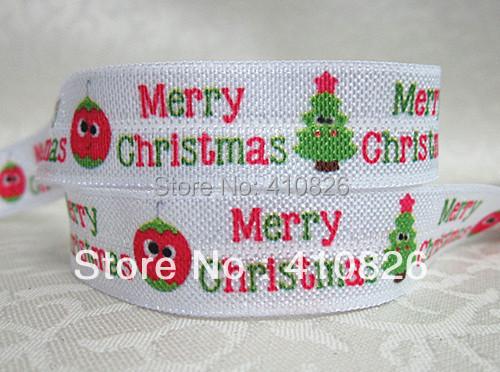 WM ribbon wholesale/OEM 5/8inch 928018 MERRY CHRISTMAS folded over elastic 50yds/roll FOE Webbing free shipping(China (Mainland))