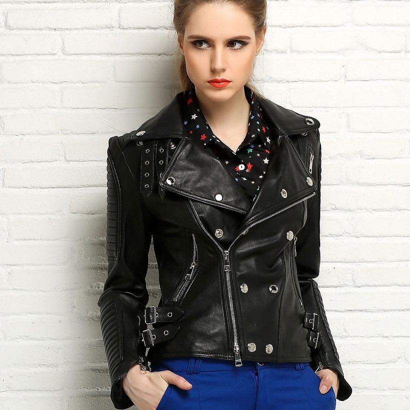 2016 New Fashion Womens jacket 100% Genuine Leather Jacket Motorcycle short Brand outerwear jackets for women Dropship(China (Mainland))