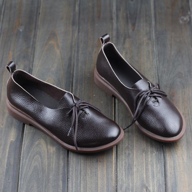 Женщины обувь весна / осень натуральная кожа на плоской подошве круглый носок туфли-квартиры ...