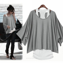 Brand New Women Cotton Batwin Sleeve Summer Women Tops T-shirt 2015 Autumn Spring Fashion Loose T-shirt Blusa Feminina(China (Mainland))