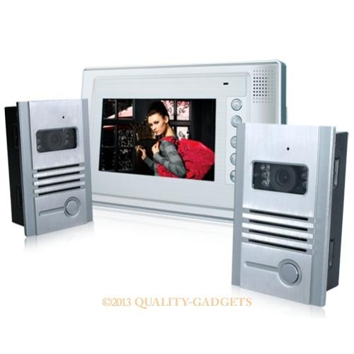 "803MB 7"" LCD Video Doorphone 1-monitor 2-cameras IR Night Vision Function Wireless Doorbell Camera Intercom(China (Mainland))"