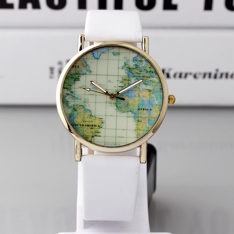 New Fashion PU Leather Map Round Simple Analog Quartz Watch Gift Men Women Wristwatch Mothers Day Gift<br><br>Aliexpress