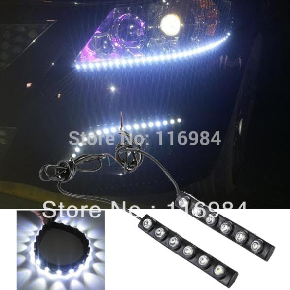 2PCS x White 6-LED Eagle-eye Super Bright White Waterproof Flexible Car Daytime Running Light(China (Mainland))