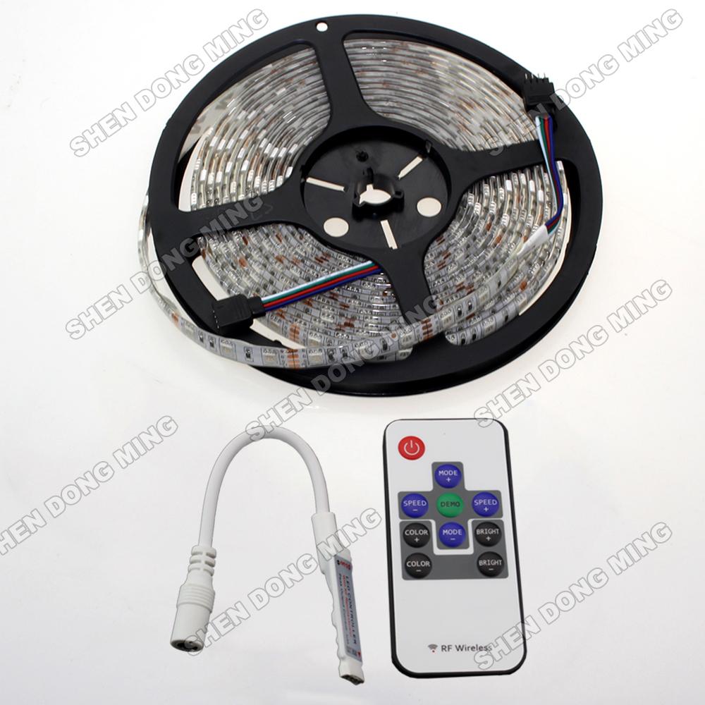 5050 RGB Led Strip light Waterproof SMD 5M 3000led led flexible light + 10key RF Remote mini RGB controller free shipping(China (Mainland))