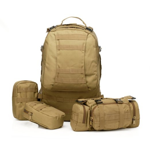 55L Tan Coyote Brown Tactical Backpack Military Rucksack Hiking Camping Mountain Climbing Backpack Combined with 3 MOLLE Bags(China (Mainland))