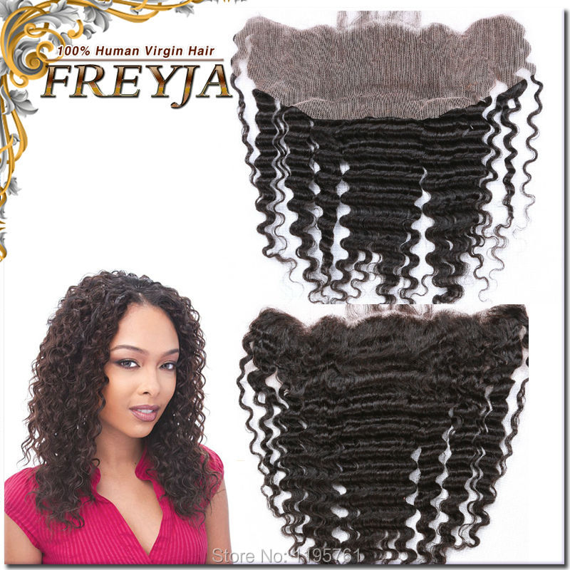 Free shipping 7A virgin Malaysia human hair lace frontal closure 13x4 with Deep Wave can be dyed and bleached Free Middle 3part<br><br>Aliexpress