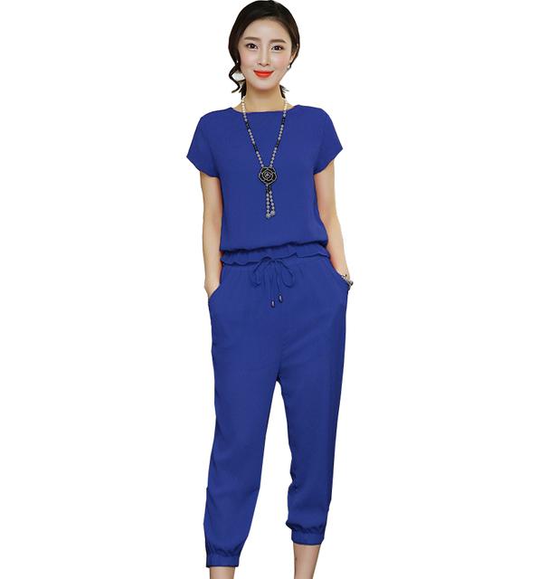 2 шт. комплект мода лето шифон женщины устанавливает 2016 новый короткий рукав рубашки ...