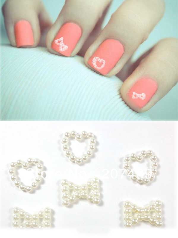 retail  round Venetian pearl white heart bowknot nail art Salon UV Gel Tips Manicure decorations care beauty for phone DIY etc<br><br>Aliexpress