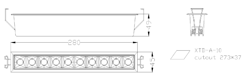 2wx10 led linear downlight sizes