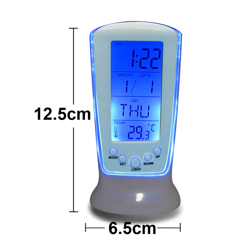 Digital LED Multi-function Alarm Clock Mini Desktop Electronic Watch Square Backlight + Thermometer Music Clock + Calendar(China (Mainland))