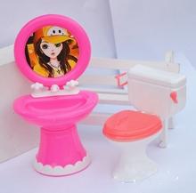 Детский Кукольный Дом Игрушки Куклы Аксессуары Пластиковые Умывальник + Туалет Набор Для Куклы Барби Для Кали Куклы