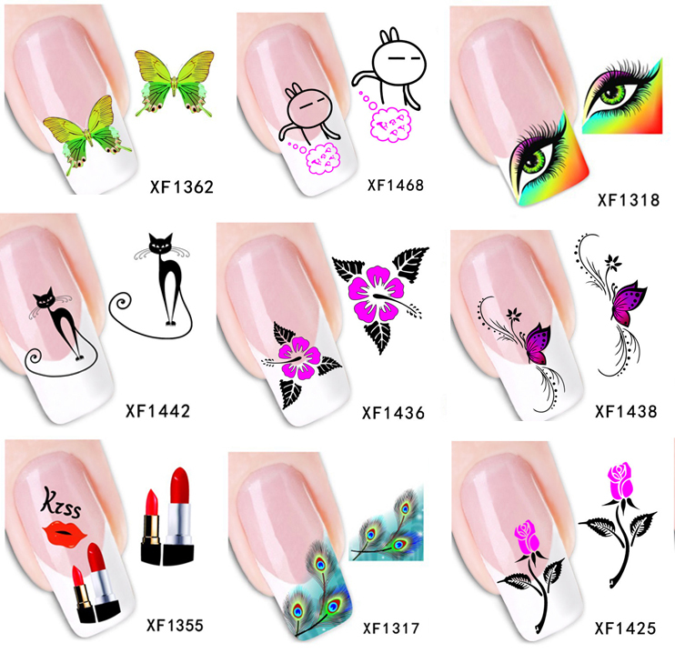Retail Wholesale Fashion Nail Sticker Water Transfer Decals Women Beauty Products Nail Art Decorations DIY Manicure Stickers(China (Mainland))