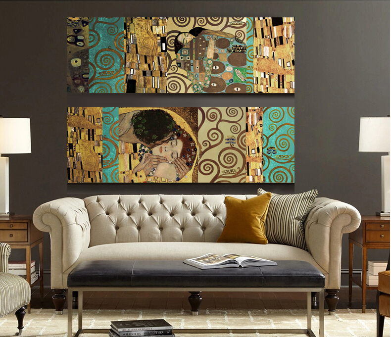 Artists Gustav Klimt The Kiss and The Tree of Life The new mix and match decorative forms Canvas Wall Art Painting Home Decor(China (Mainland))