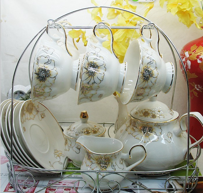 15Head Set British Style Home Drinkware Ceramic Coffee Tea Set for 6 Person Novelty Gift