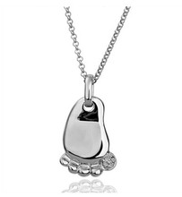 baby foot feet new arrival for mum son daughter birth birthday gift 18k Gold Plated Pendant