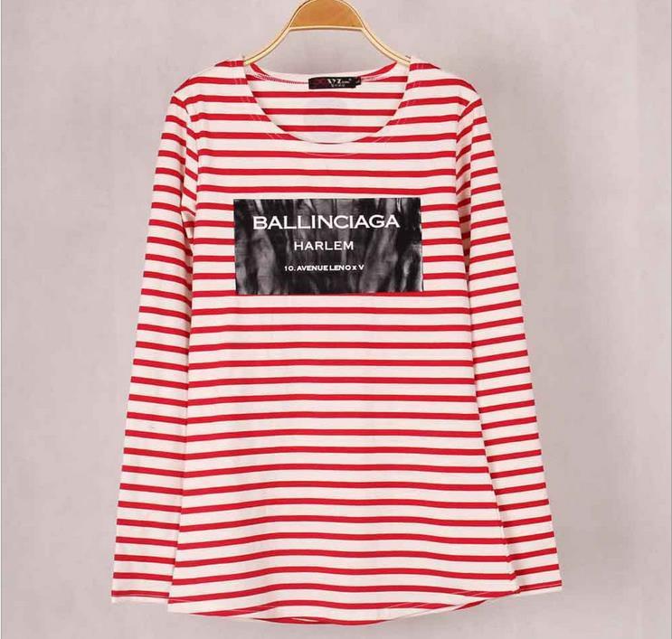 9 צבעים פסים עם מודפסים עוגן נשים חולצות שרוול ארוך כותנה סתיו חורף תחת צמרות חולצות tees עבור אישה S/M/L/XL